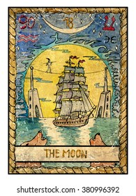 The moon.  Full colorful deck, major arcana. The old tarot card, vintage hand drawn engraved illustration with mystic symbols. Old sailing ship, towers and two wolves howling  at the huge moon.