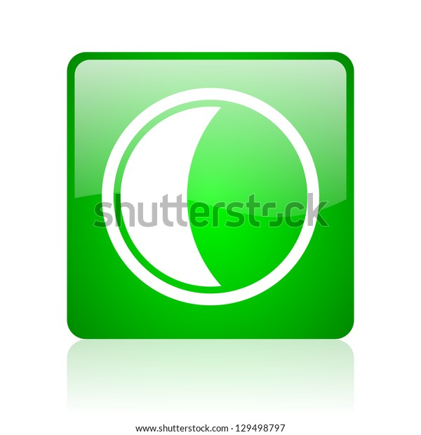 moon green square web icon on white background
