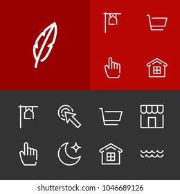 Moon icon with cart, shop and wave editable symbols. Set of house, click, quill icons and pointer concept. Editable  elements for logo app UI design.