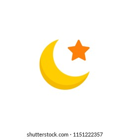 Moon icon flat element.  illustration of moon icon flat isolated on clean background for your web mobile app logo design.