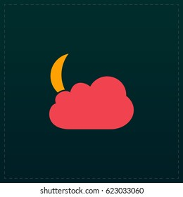 Moon Icon Illustration. Color symbol button on black background. Symbol