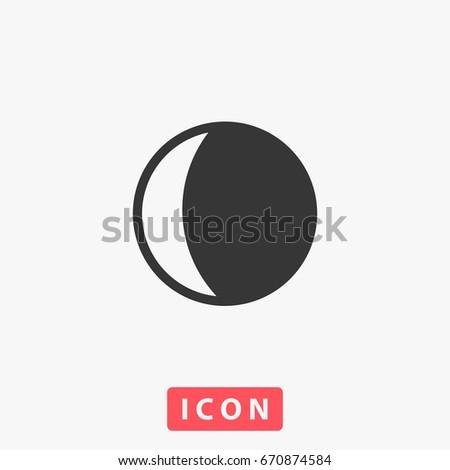 Moon Icon Illustration Flat Symbol Simple Stock Illustration