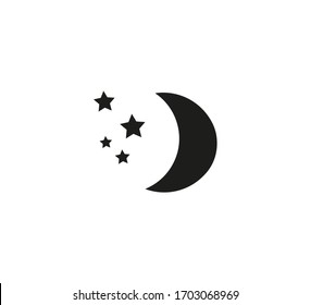 Moon icon, logo isolated on white background