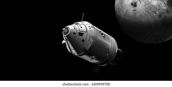 Moon landing Modul over the moon -   3d rendering