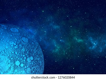Moon, nebula and stars in night sky. Space background.