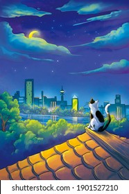 Moon Night. Cat and Moon. City Scene. Fantasy Backdrop. Concept Art. Realistic Illustration. Video Game Background. Digital Painting. CG Artwork. Nature Scenery. Serious Painting. Book Illustration.
