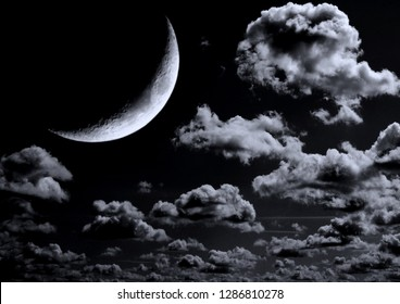 The moon in the night sky in clouds 3D illustration