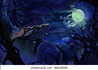 Moon Night. Video Game's Digital CG Artwork, Concept Illustration, Realistic Cartoon Style Background