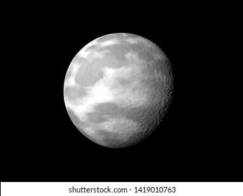 moon on black. 3d rendering.