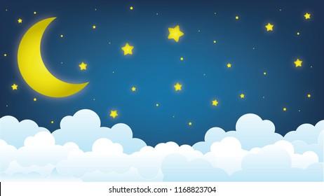 moon on the sky, good night illustration design
