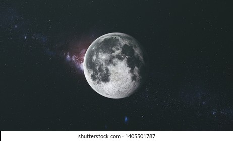 Moon Orbit Floodlight Surface Milky Way Background. Planet Side Zoom in Dark Outer Space Star Galaxy Cosmos Constellation Exploration Concept 3D Animation