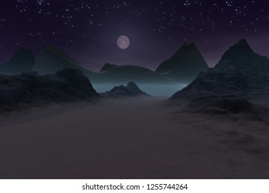Moon over mountains,3d rendering, a night landscape, snow on the ground and stars in the sky.