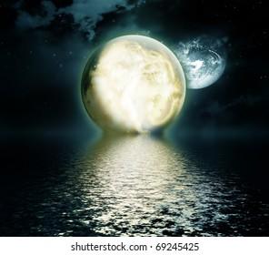 moon over the sea - night landscape
