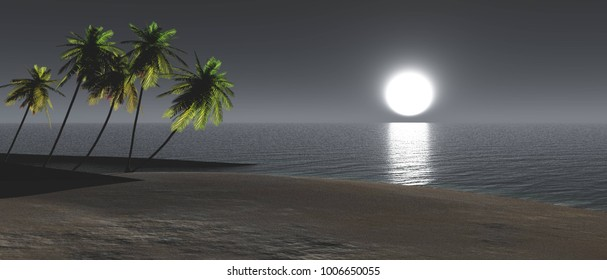 Moon over the water, panorama of the moon rising over a tropical beach, 3D rendering