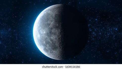 Moon Phase: Last Quarter. 3d illustration