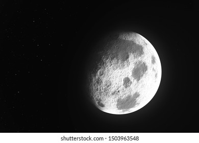 Moon phase realistic illustration on black background. Detailed moon surface with craters in the space