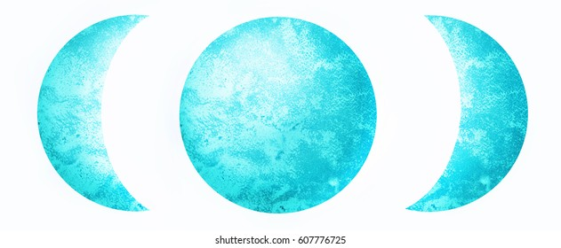 Moon phases in bright blue color. Hand painted with watercolors on white background