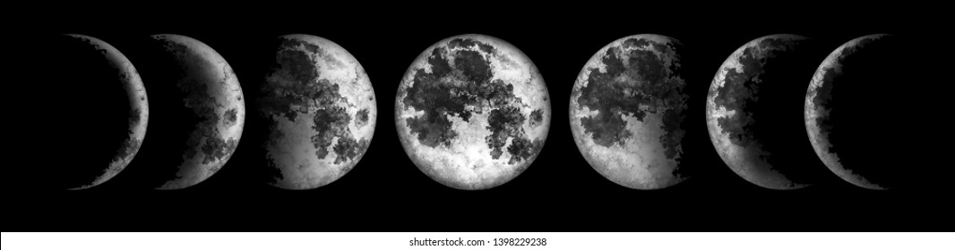 Moon phases isolated on black background. Watercolor hand drawn illustration.