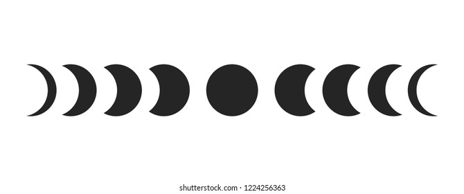 Moon phases  on white background