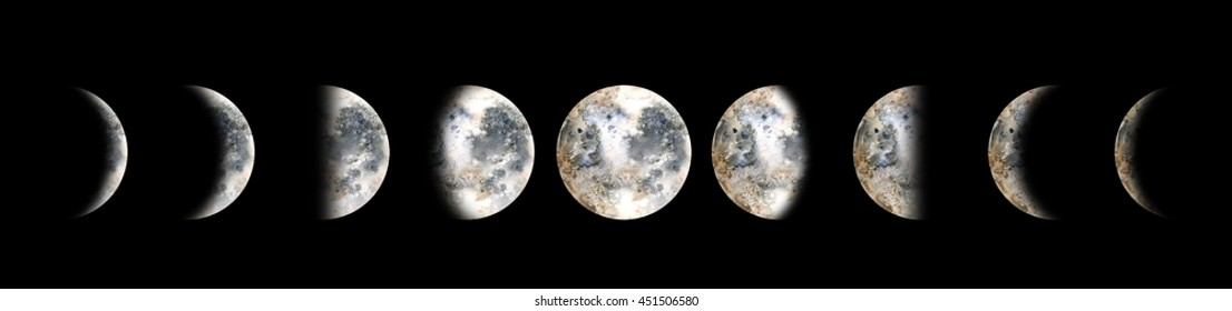 Moon phases. Watercolor illustration isolated on black background