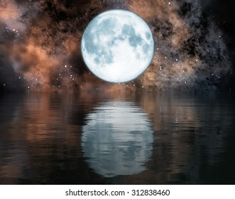 moon and reflection in the water