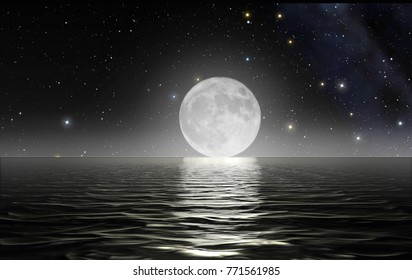 Moon rising over the ocean surface with starry sky ub the background