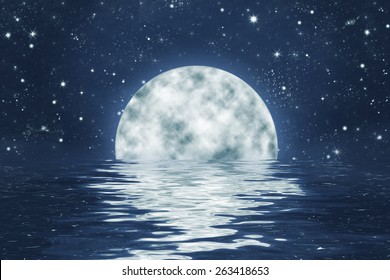 moon set over water with waves, with full moon on blue night sky with stars