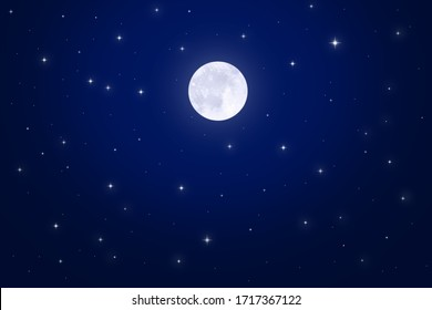 The moon shines in the starry sky. Beautiful background.