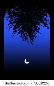 Moon shining through an Archway and Branch Silhouette, on a Blue Night Sky