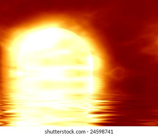 moon sinking in the ocean on a red background
