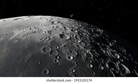 moon in space, lunar surface, craters of the moon 3d render