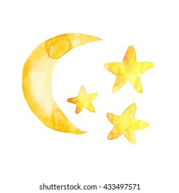 Moon Stars Baby Yellow Watercolor Hand Painted Illustration Isolated
