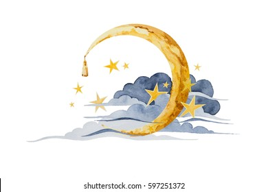 The moon and stars in the clouds