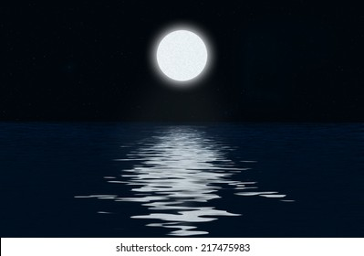 Moon, the stars and moonlit path on the water surface