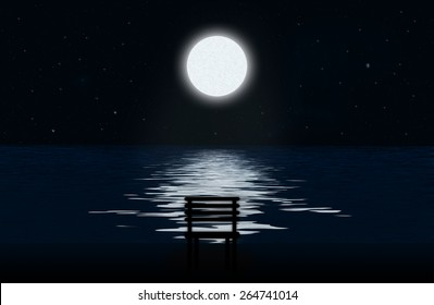Moon, the stars and moonlit path on the water surface and silhouette of chair