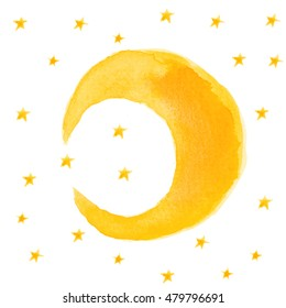 Moon and stars on white background. Starlight Night. Hand drawn illustration by watercolor. Isolated watercolor crescent and stars.
