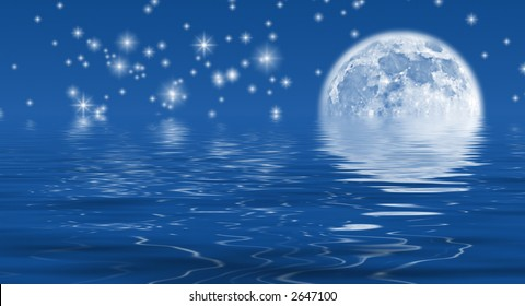Moon and stars reflecting in water