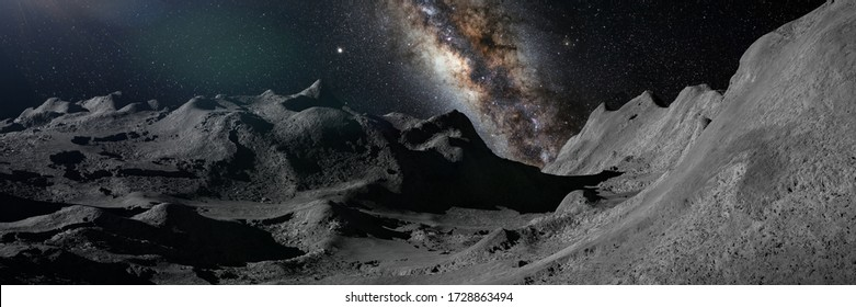 Moon surface, lunar landscape with the Milky Way galaxy over the horizon (3d space illustration banner)