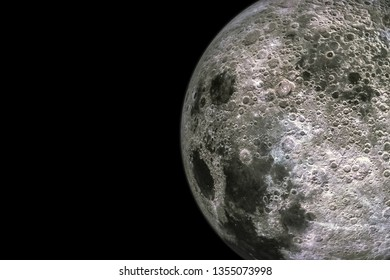 Moon surface and texture with craters isolated on black background with copy space. 3d render illustration.