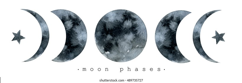 Moon various phases. Trendy watercolor illustration isolated on white background