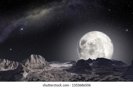 moon viewed from the surface of an alien planet, 3d illustration (elements of this image furnished by NASA)