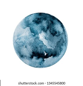 Moon watercolor circular painting, on white background