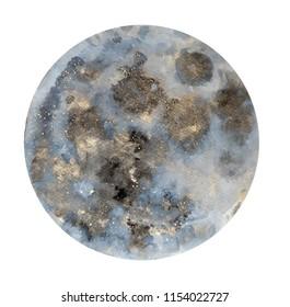 Moon. Watercolor illustration