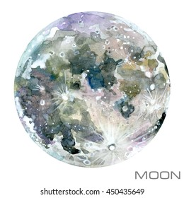 Moon watercolor illustration.