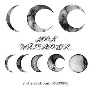 moon watercolor illustration, design texture