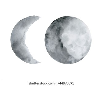 Moon. Watercolor illustration on white.