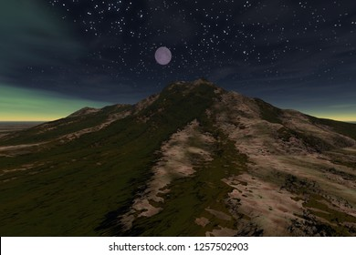 Moonlight, 3d rendering, a night landscape, grass and stones on the ground and aurora in the sky.