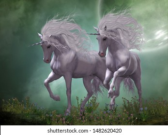 Moonlight Unicorns 3d illustration - Two Unicorn stallions prance around blue and pink flowers as moonlight shines down on them.