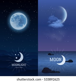 Moonlight vertical banner set with moon on dark sky background isolated  illustration