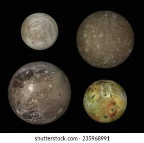 Moons of Jupiter, four biggest moons of Jupiter, real comparison, Elements of this image furnished by NASA